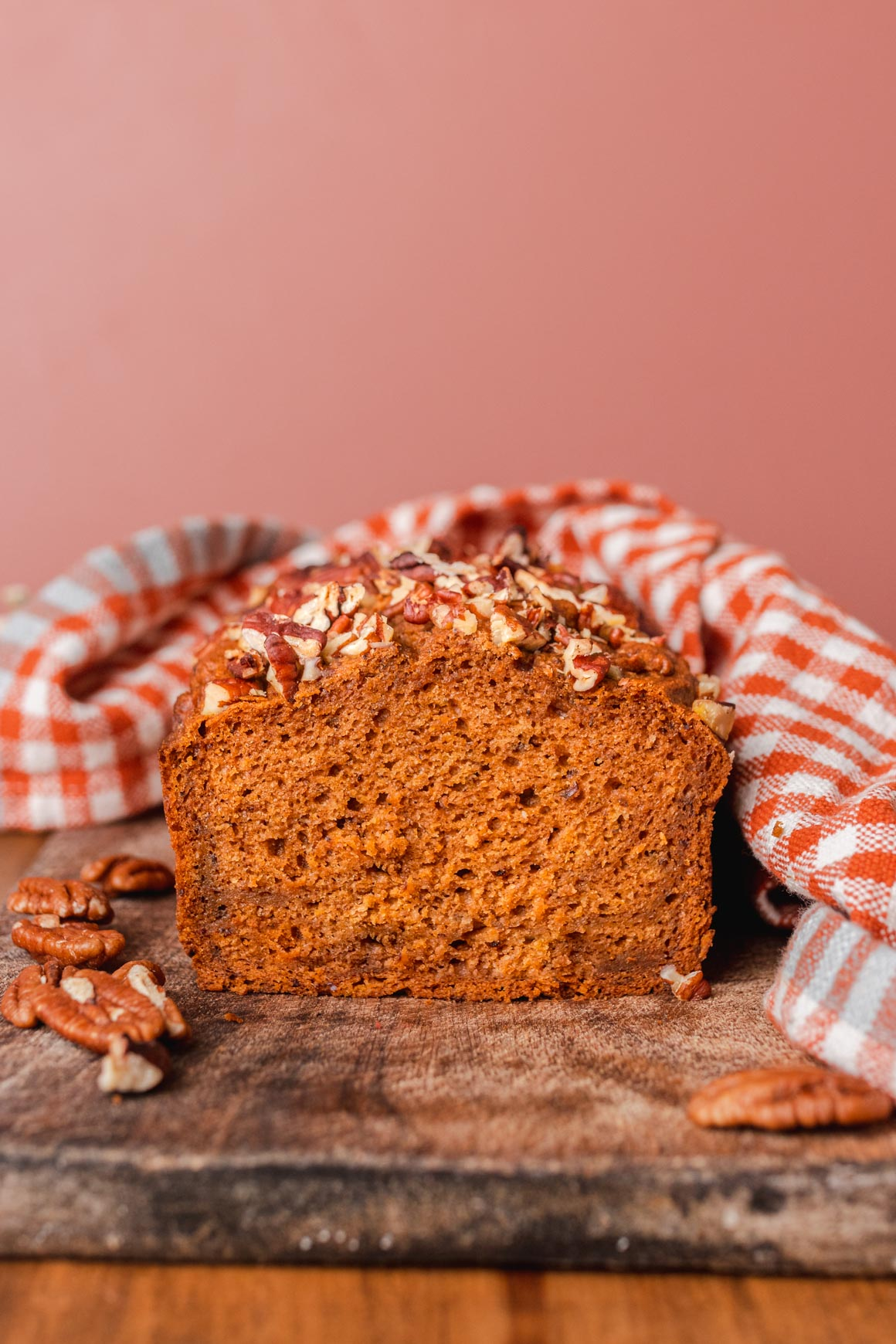 Vegan Pumpkin Loaf with Toasted Pecans