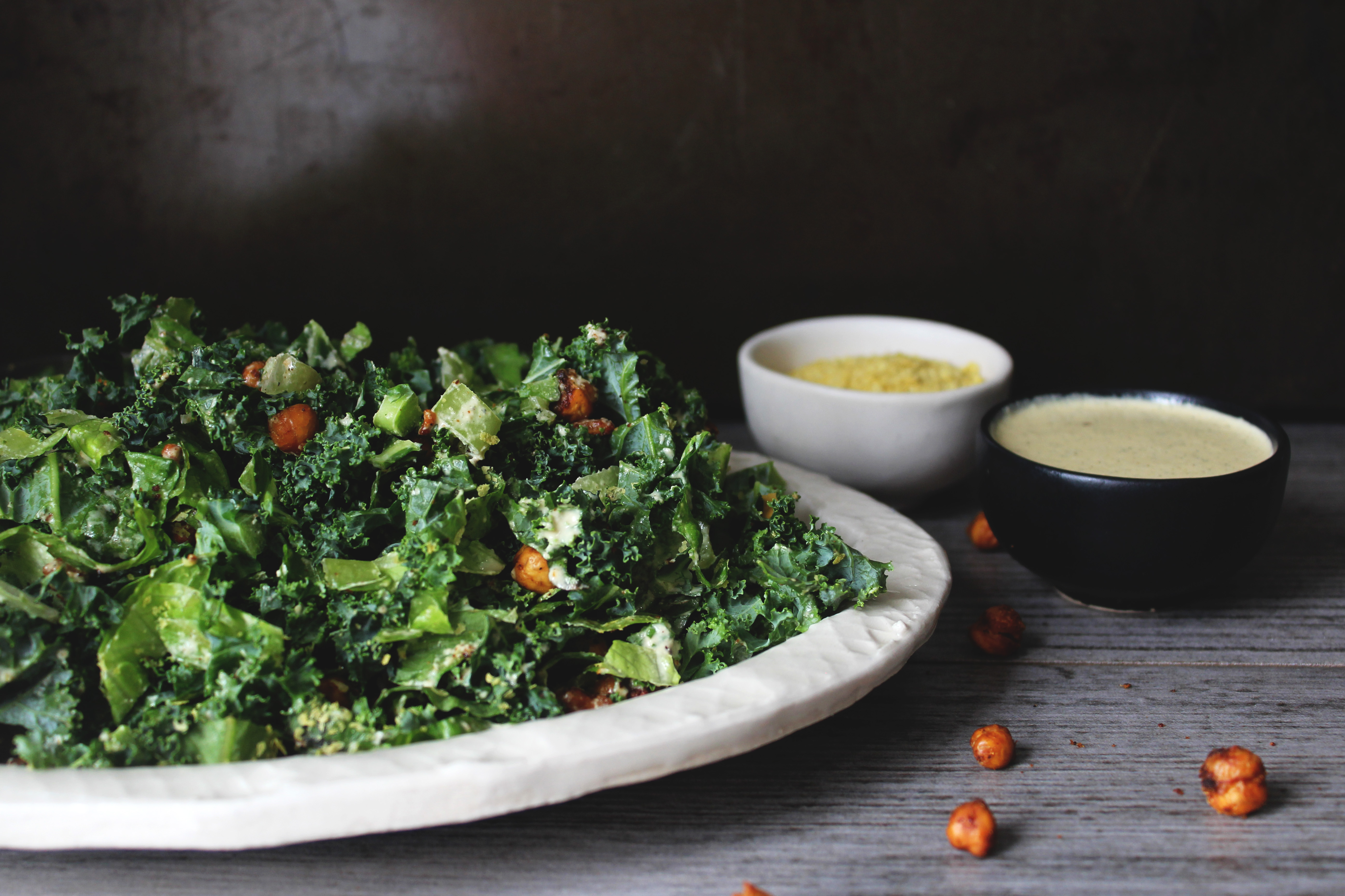 Kale Caesar Salad w/ Chickpea Croutons