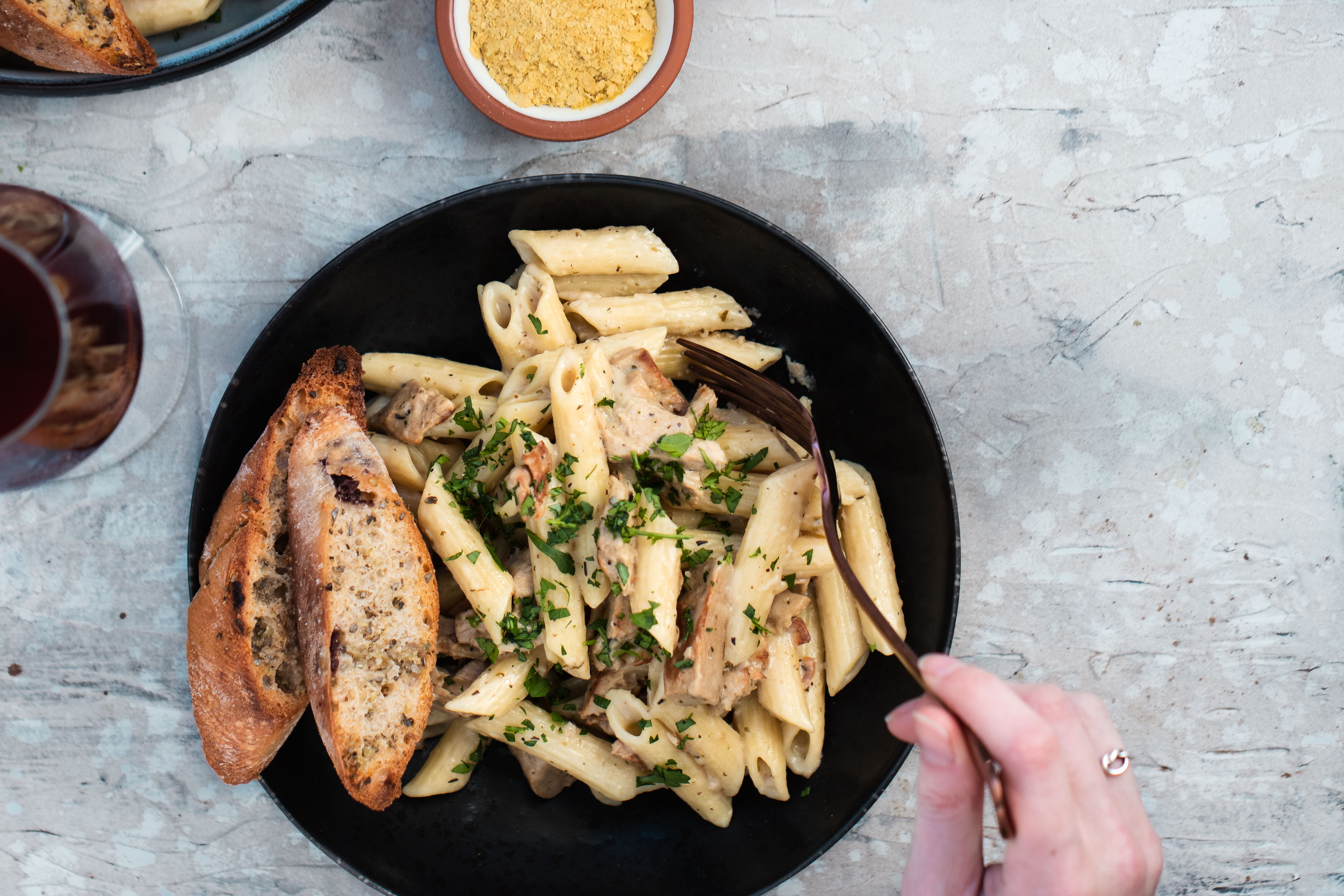 Creamy Garlic Chick'n Penne