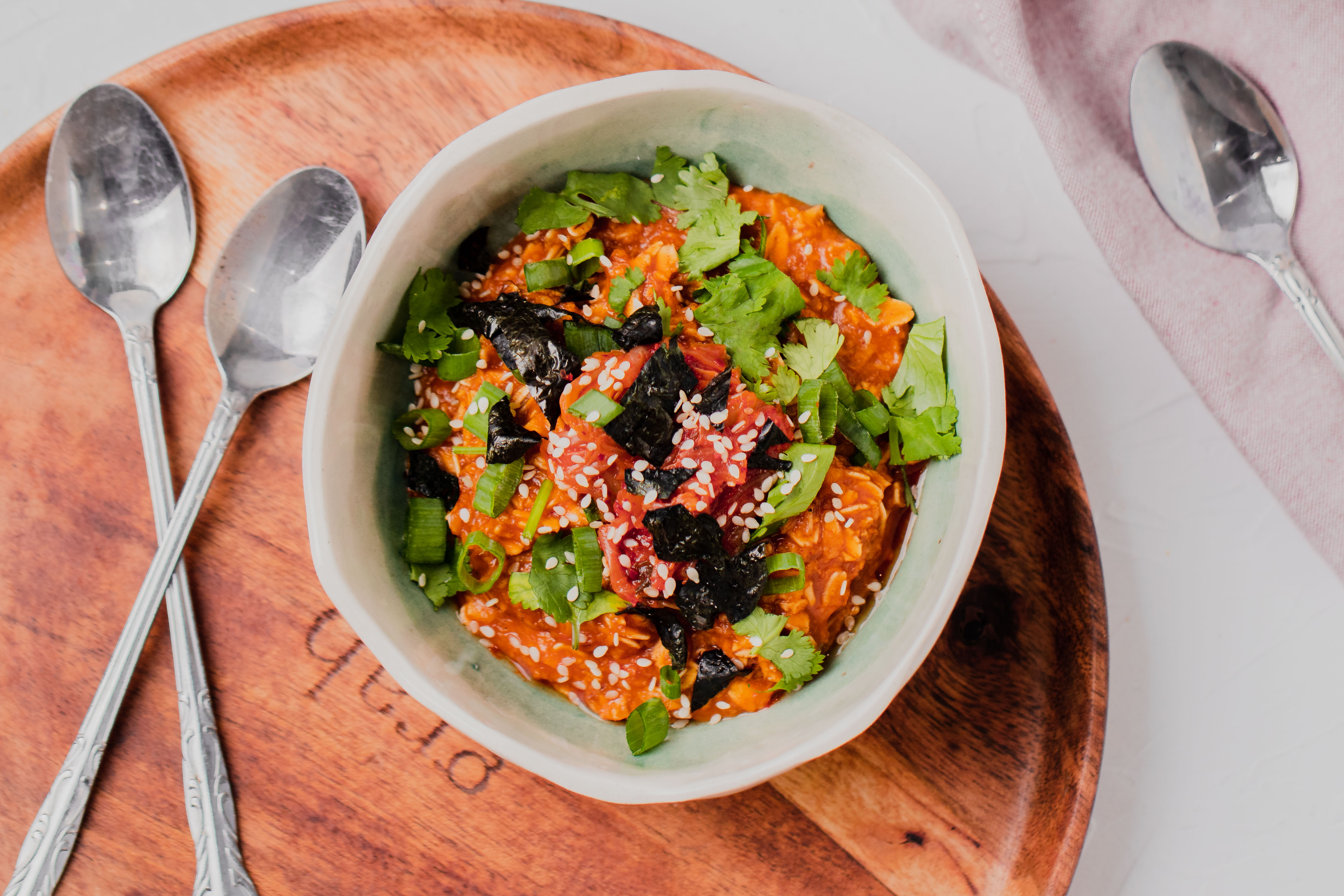 Korean Savoury Oatmeal Breakfast Bowl