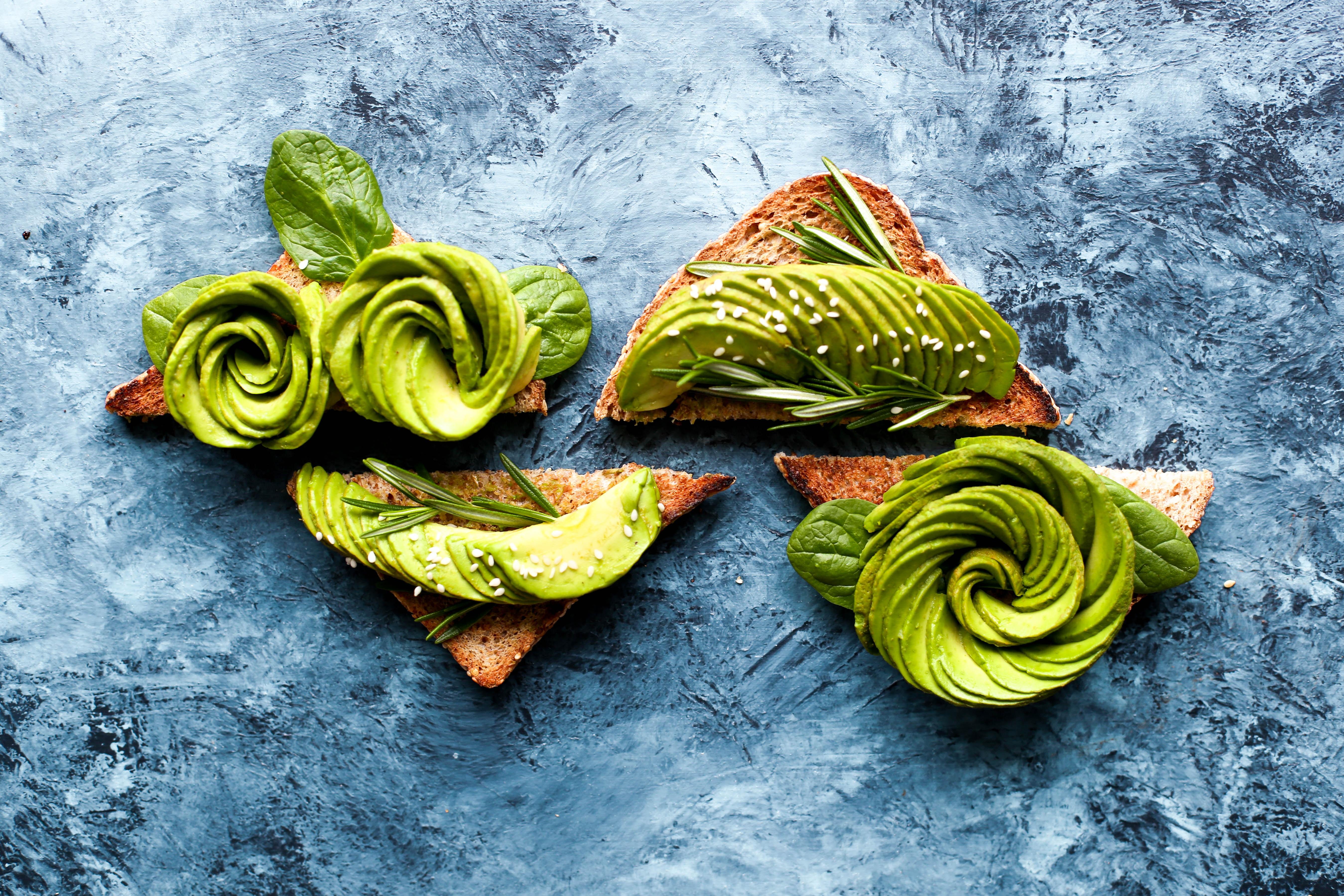 avocado toast art on blue background