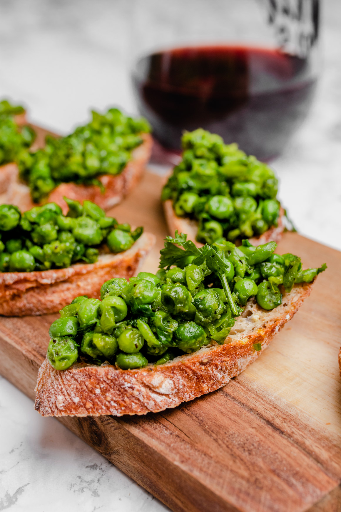 mashed green pea crostini