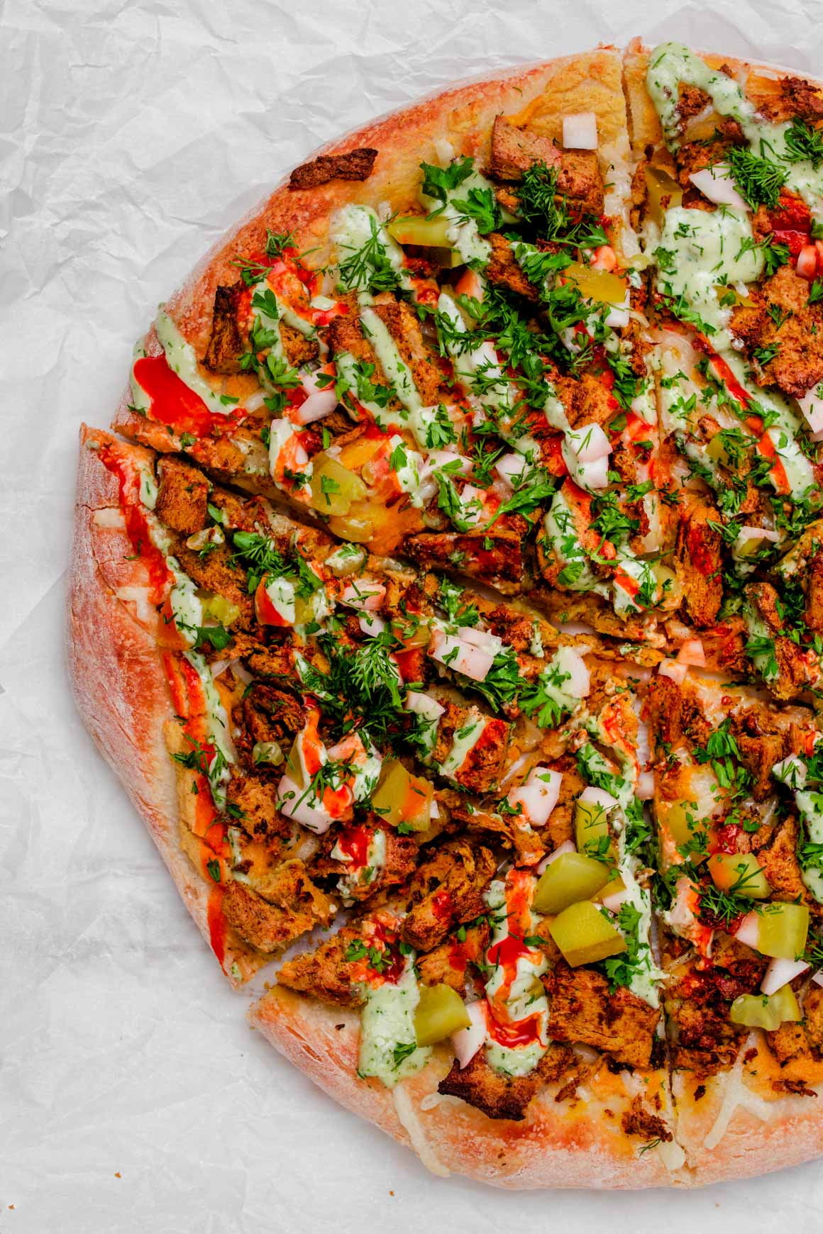 vegan shawarma pizza