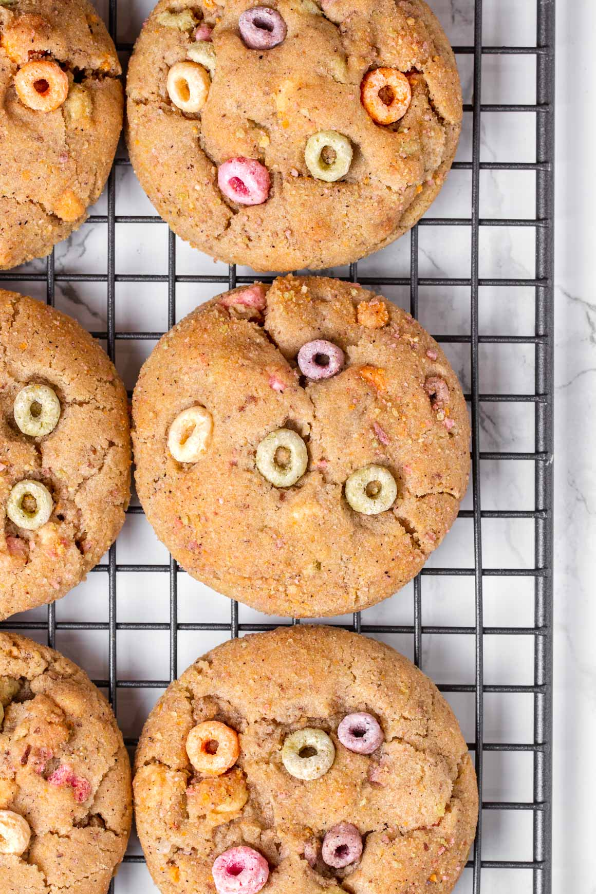 fruity cereal cookies on cooling rack