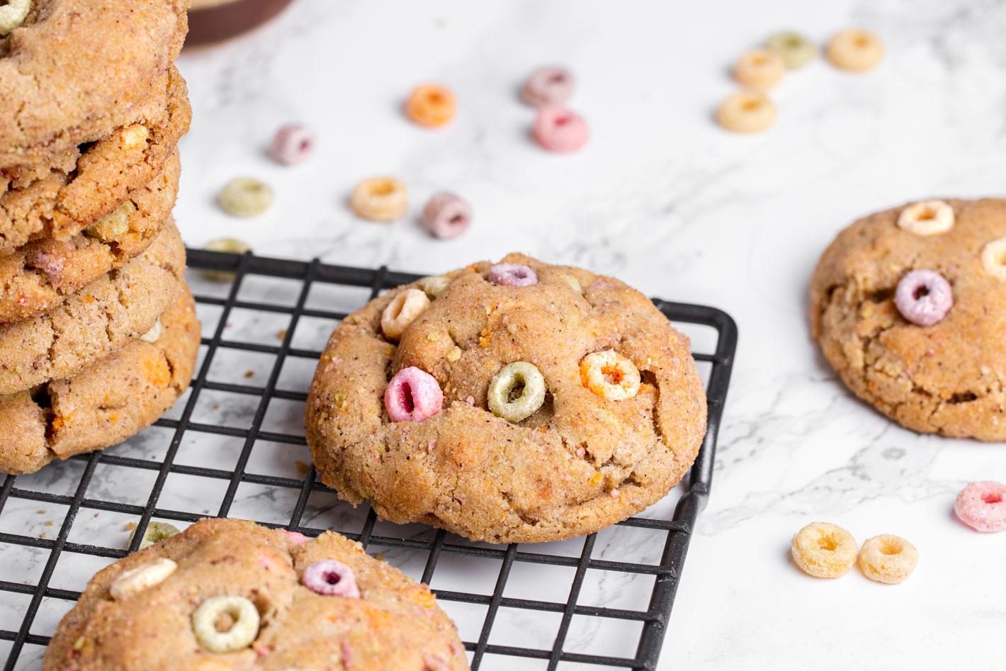 fruity cereal cookies using vegan froot loops
