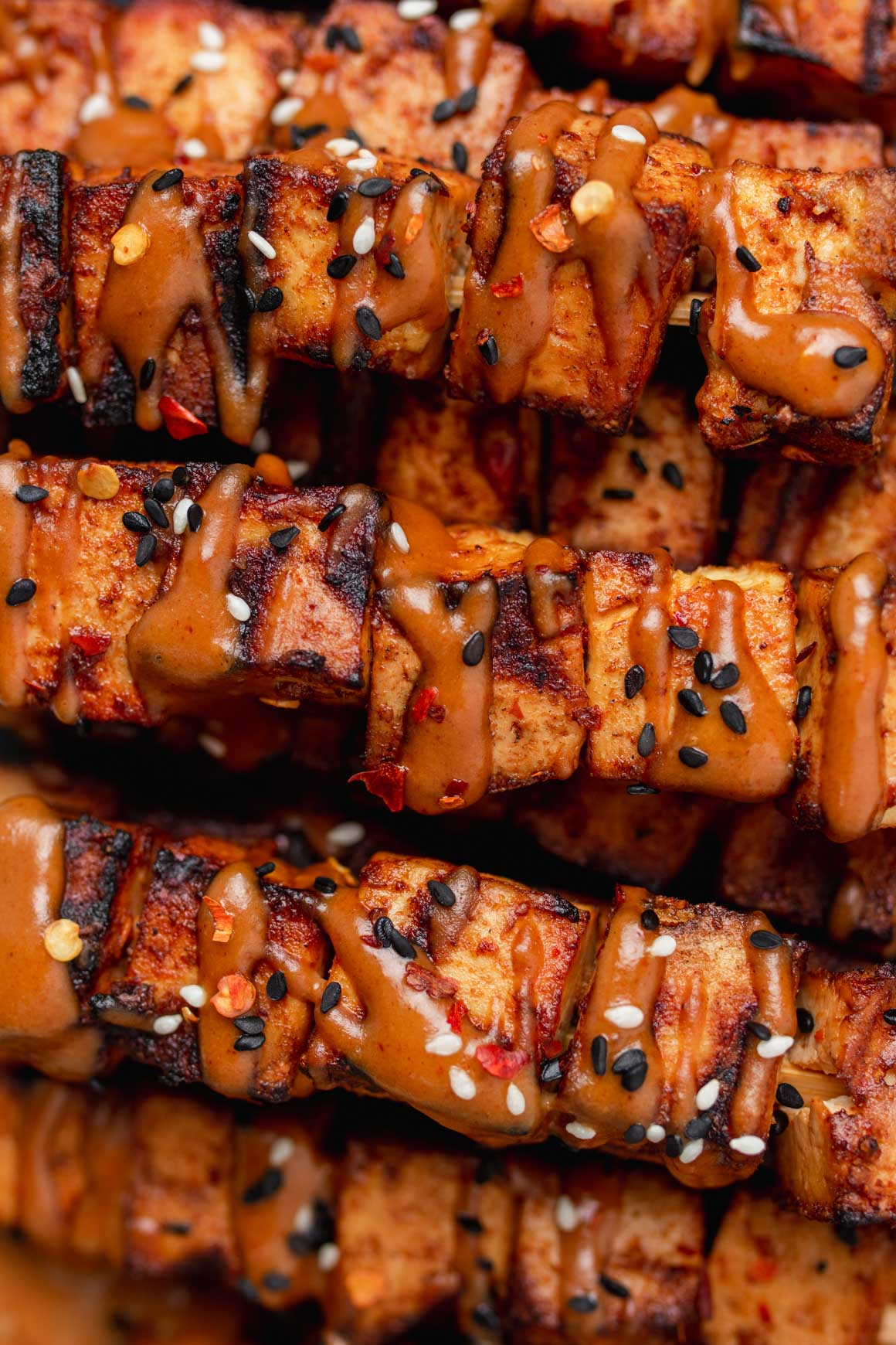 spicy peanut tofu kebabs