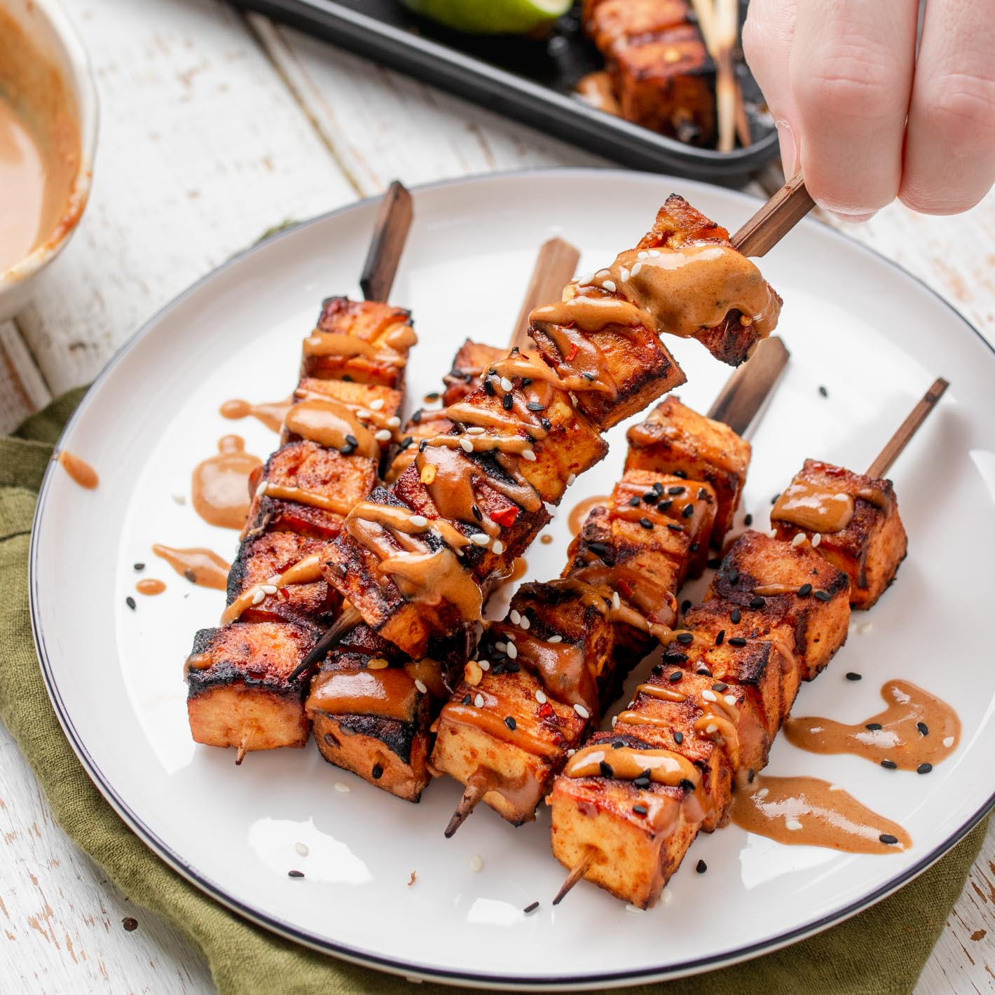 Spicy Peanut Tofu Skewers