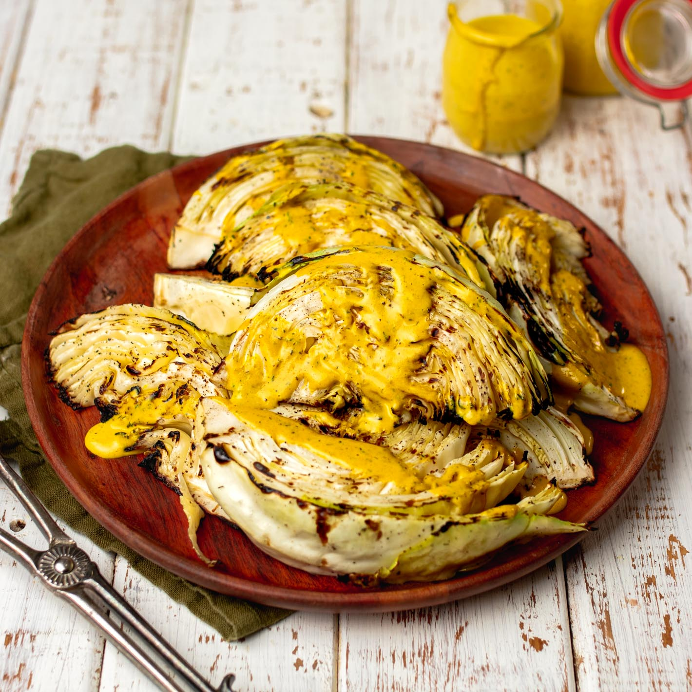 Grilled Cabbage Wedges with Turmeric Dill Dressing