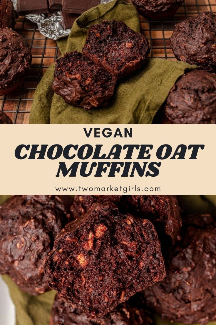 chocolate oat muffin pile pinterest graphic
