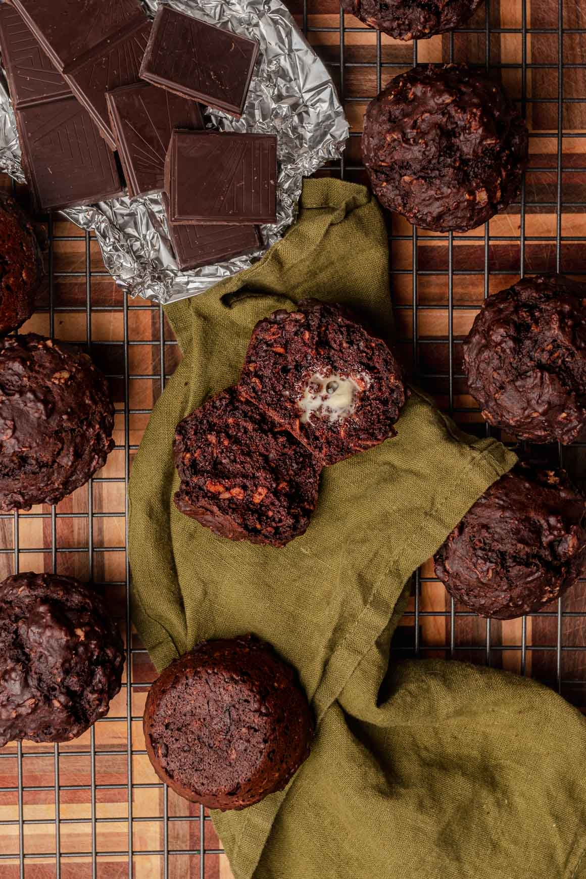 chocolate oat muffin pile