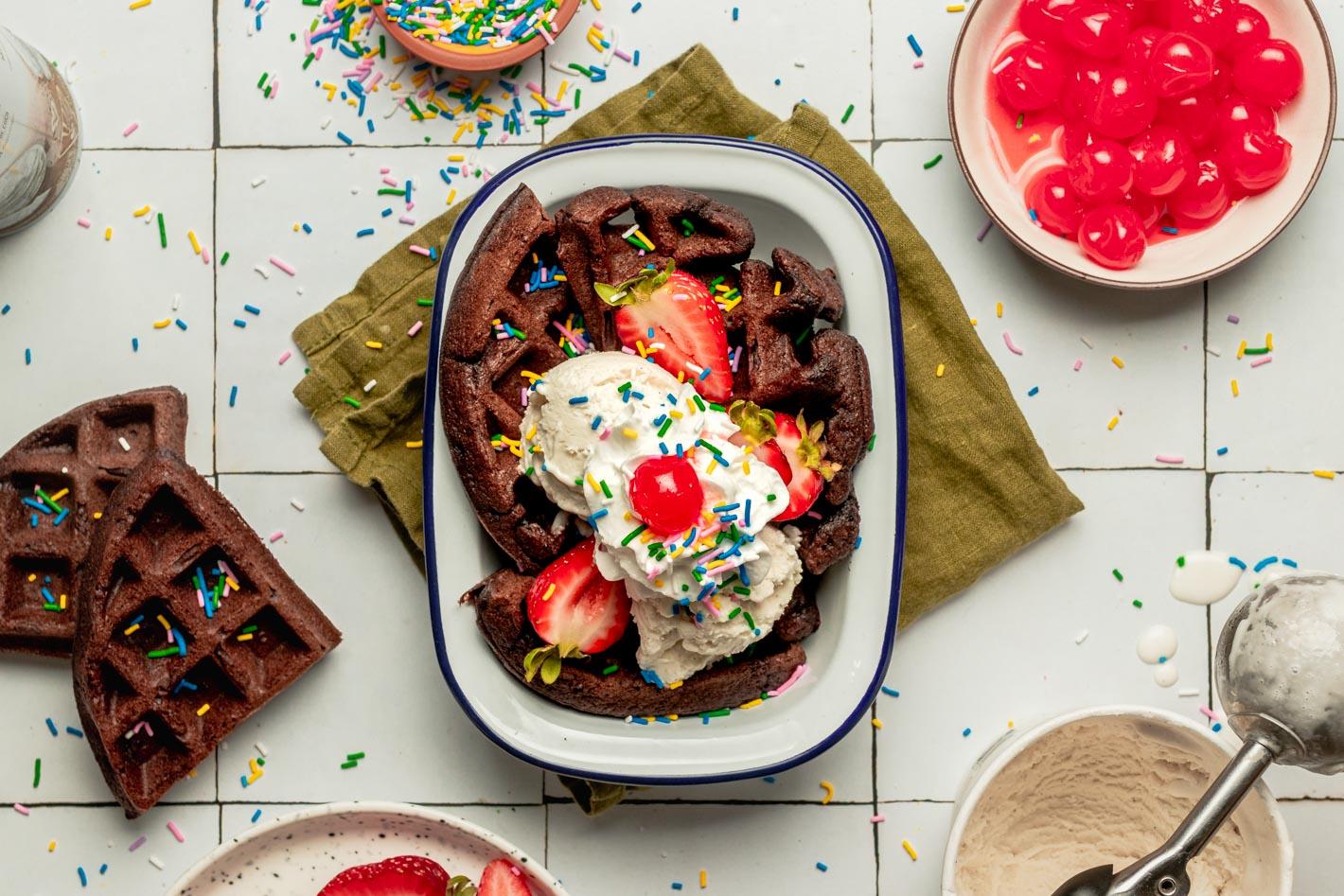 chocolate waffle ice cream sundae