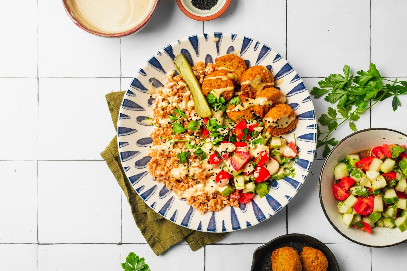 falafel farro grain bowl