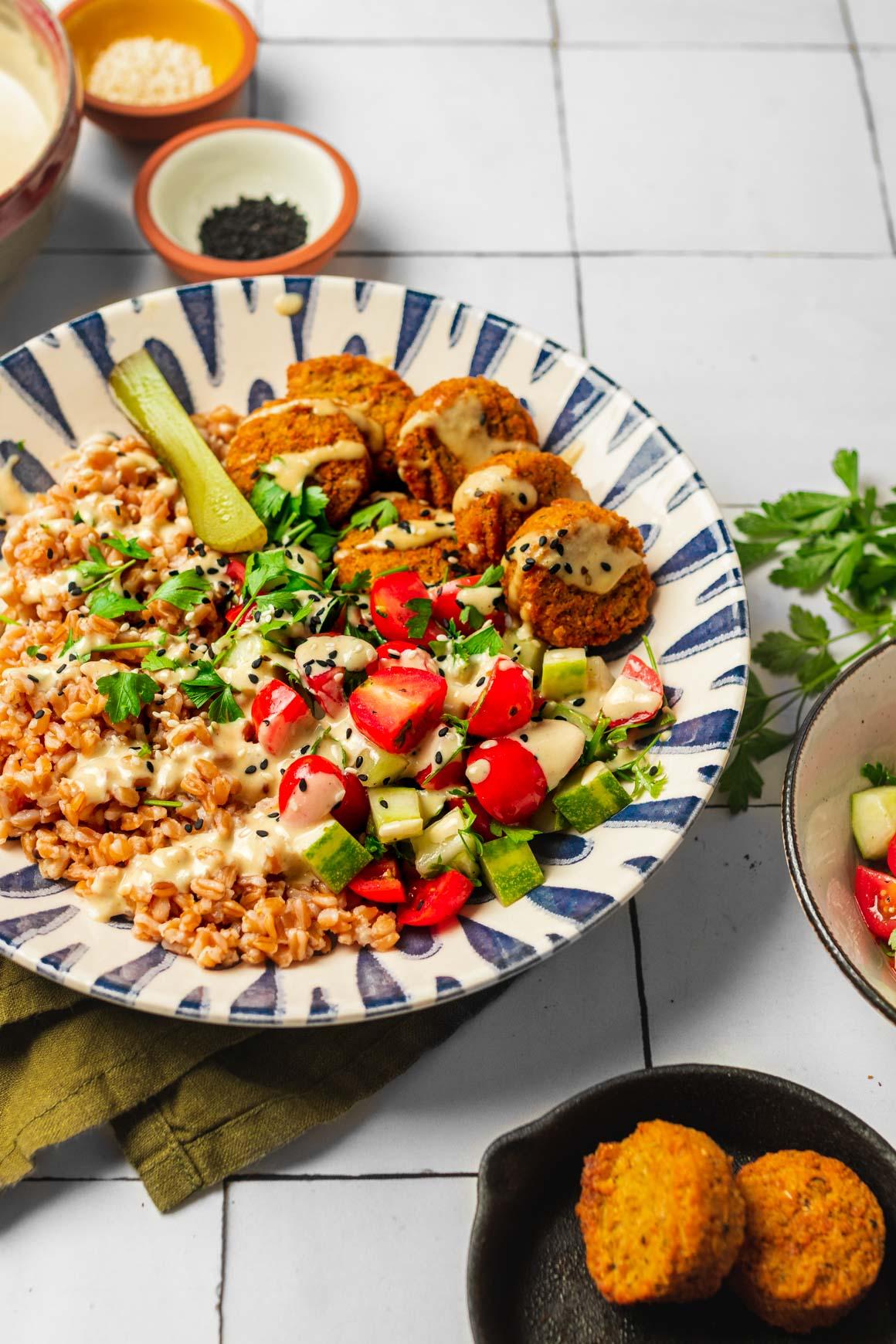 falafel farro bowl