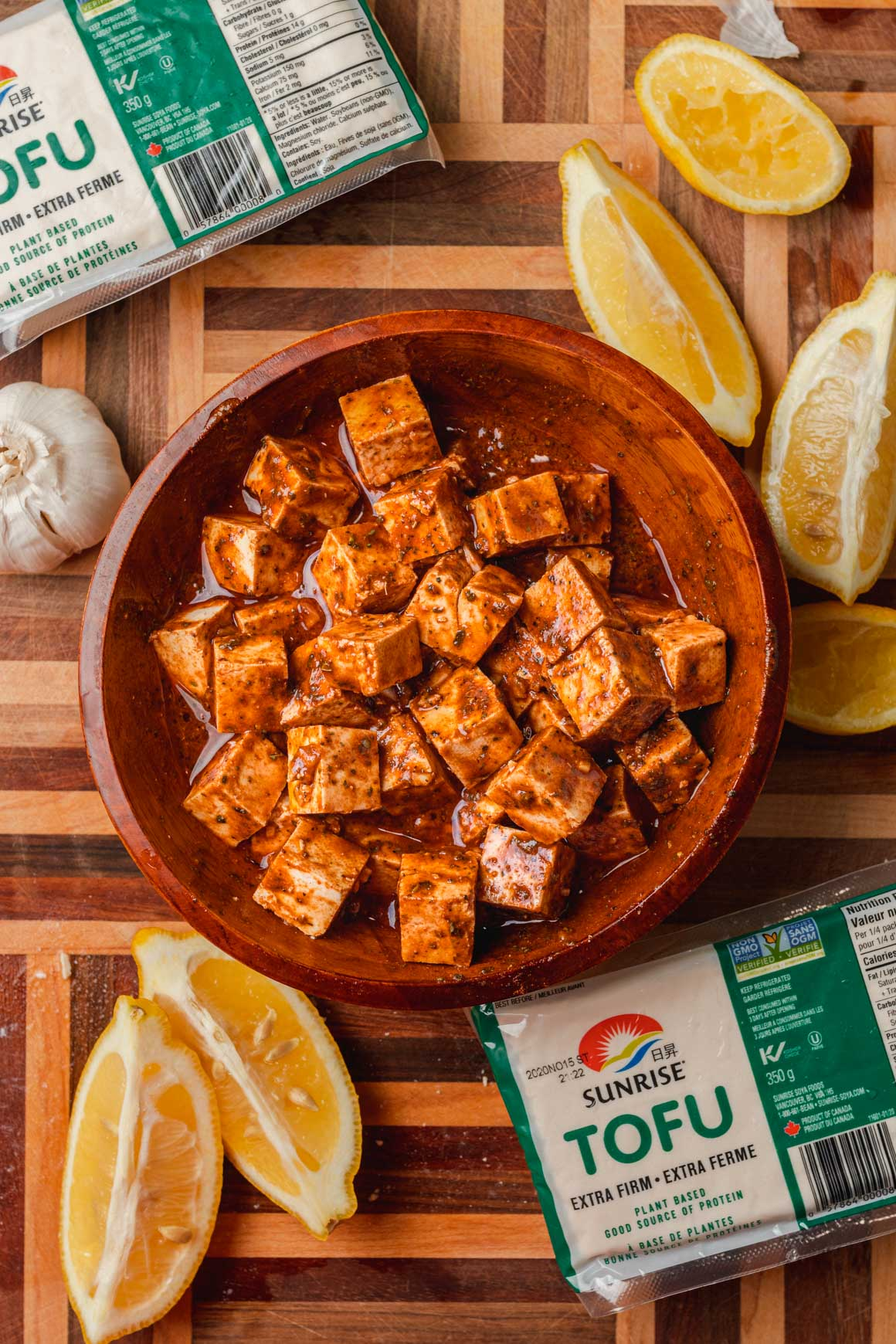 Extra firm tofu in marinade