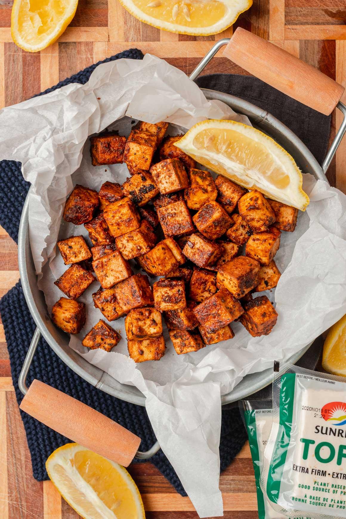 Easy oven baked crispy spicy lemon tofu