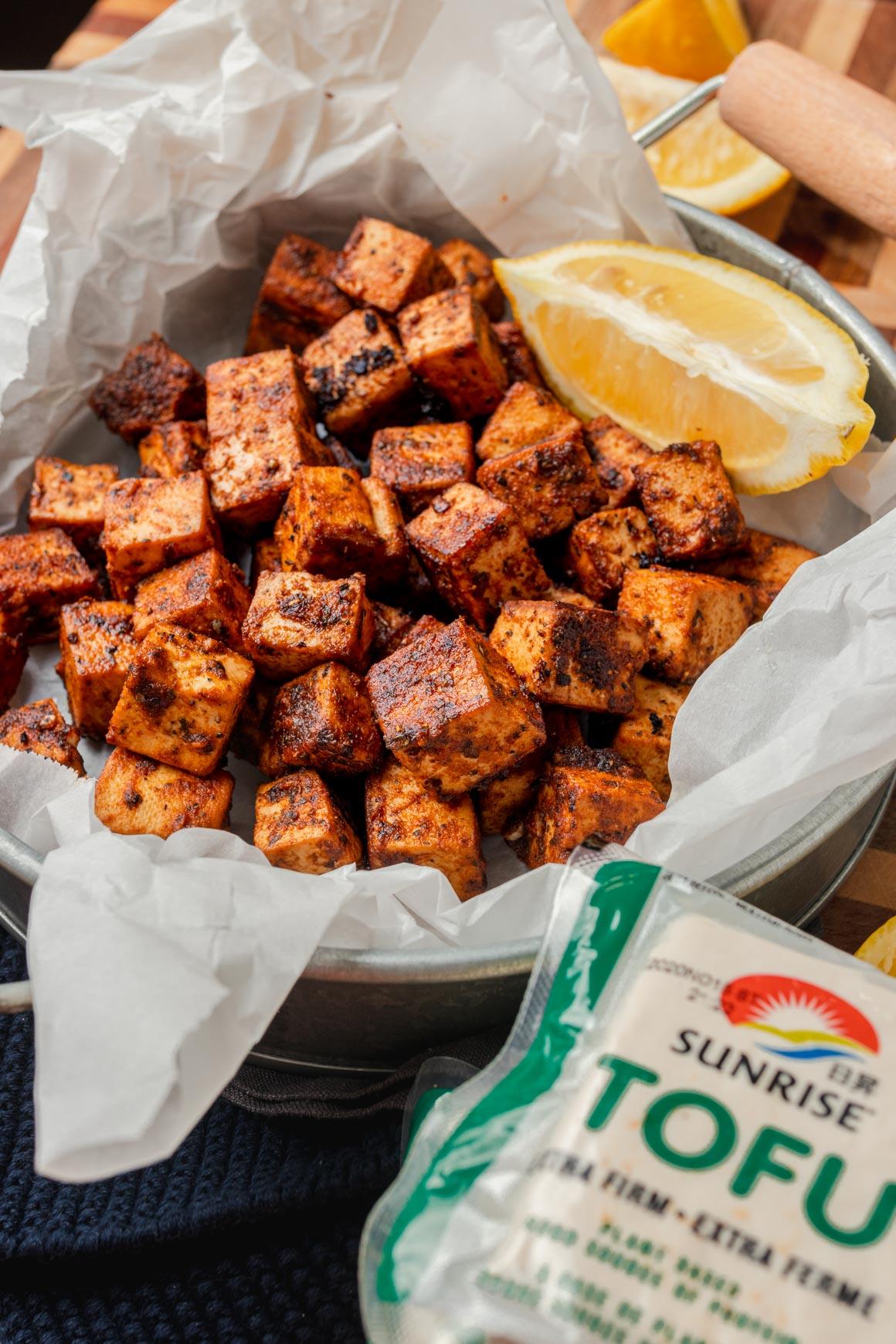 Crispy baked spicy lemon tofu with sunrise extra firm tofu