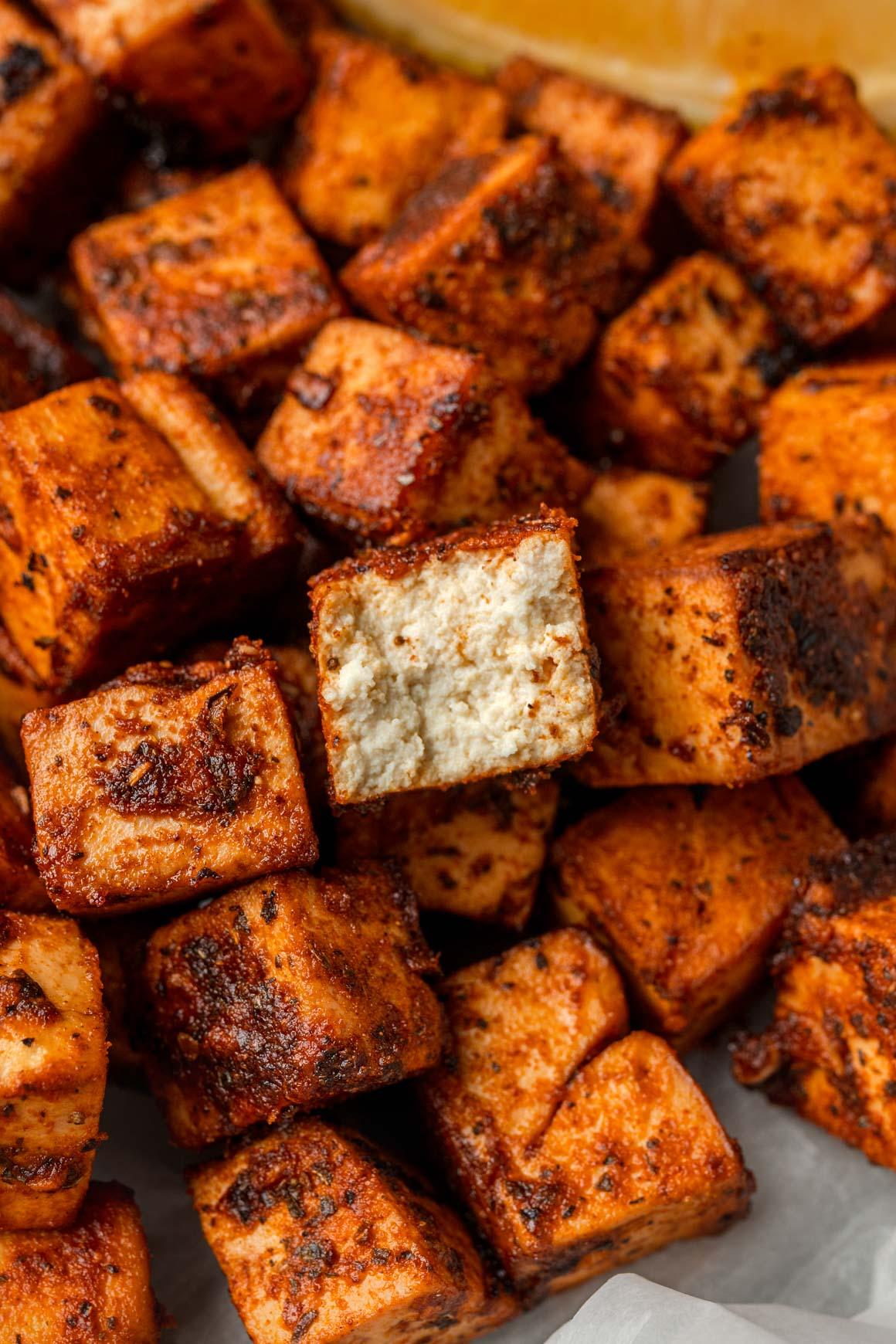 Crispy, tender spicy lemon tofu