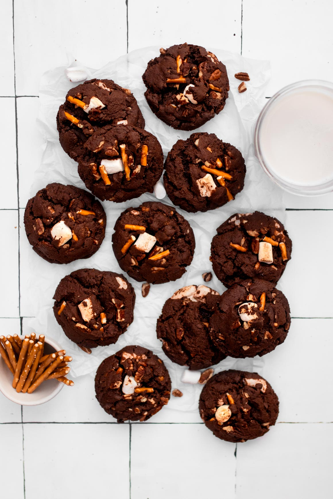 Chocolate Marshmallow Pretzel Cookies